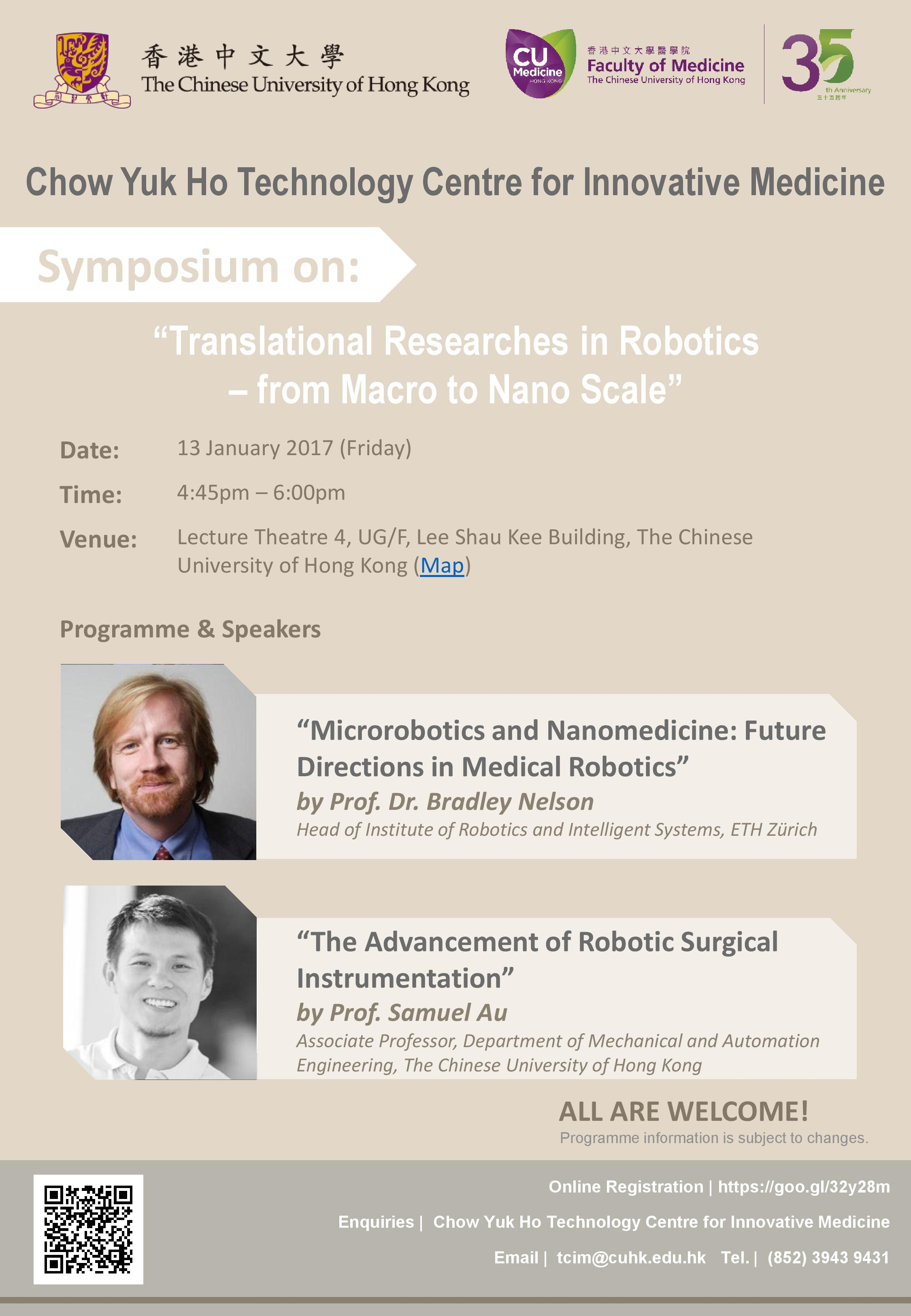 """Symposium on: """"Translational Researches in Robotics – from Macro to Nano Scale"""""""